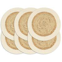 vidaXL Placemats 6 pcs Plain Natural 38 cm Round Jute and Cotton