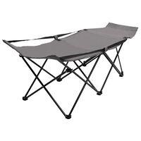 vidaXL Folding Sun Lounger Grey Steel