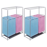vidaXL 2-Section Laundry Sorter Hampers 2 pcs with a Top Shelf for Drying