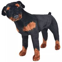 vidaXL Standing Plush Toy Rottweiler Dog Black and Brown XXL