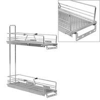 vidaXL 2-Tier Pull-out Kitchen Wire Basket Silver 47x15x54.5 cm