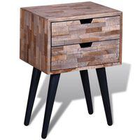 vidaXL Nightstand with 2 Drawers Reclaimed Teak Wood