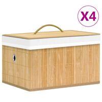 vidaXL Bamboo Storage Boxes 4 pcs