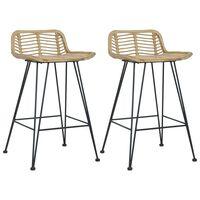 vidaXL Bar Chairs 2 pcs Natural Rattan