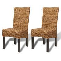 vidaXL Dining Chairs 2 pcs Abaca and Solid Mango Wood