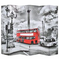 vidaXL Folding Room Divider 228x170 cm London Bus Black and White