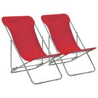 vidaXL Folding Beach Chairs 2 pcs Steel and Oxford Fabric Red