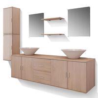 vidaXL Nine Piece Bathroom Furniture and Basin Set Beige