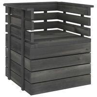 vidaXL Garden Armchair Solid Pinewood Dark Grey