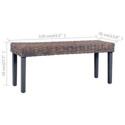 vidaXL Bench 110 cm Grey Natural Kubu Rattan and Solid Mango Wood
