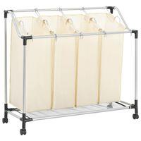 vidaXL Laundry Sorter with 4 Bags Cream Steel