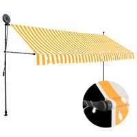 vidaXL Manual Retractable Awning with LED 400 cm White and Orange