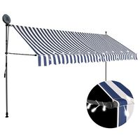 vidaXL Manual Retractable Awning with LED 350 cm Blue and White