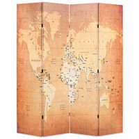 vidaXL Folding Room Divider 160x170 cm World Map Yellow