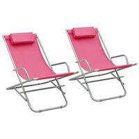 vidaXL Rocking Chairs 2 pcs Steel Pink