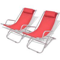 vidaXL Reclining Deck Chairs 2 pcs Steel Red
