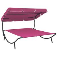 vidaXL Outdoor Lounge Bed with Canopy Pink