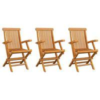vidaXL Garden Chairs 3 pcs Solid Teak Wood
