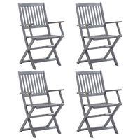 vidaXL Folding Outdoor Chairs 4 pcs Solid Acacia Wood