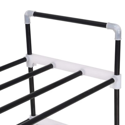vidaXL Shoe Rack with 7 Shelves Metal and Plastic Black