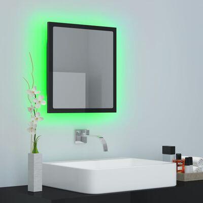 vidaXL LED Bathroom Mirror High Gloss Black 40x8.5x37 cm Chipboard