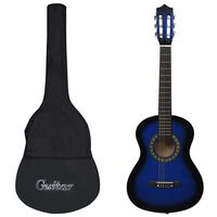 """vidaXL Classical Guitar for Beginner and Kid with Bag Blue 1/2 34"""""""