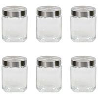 vidaXL Storage Jars with Silver Lid 6 pcs 1200 ml