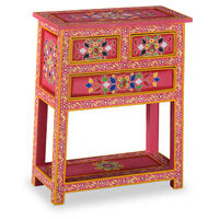 vidaXL Sideboard with Drawers Solid Mango Wood Pink Hand Painted