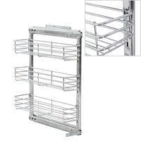 vidaXL 3-Tier Pull-out Kitchen Wire Basket Silver 47x15x56 cm
