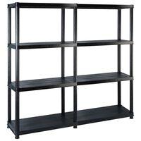 vidaXL Storage Shelf 4-Tier Black 122x30.5x130 cm Plastic