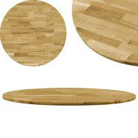 vidaXL Table Top Solid Oak Wood Round 23 mm 400 mm