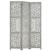 vidaXL Hand carved 3-Panel Room Divider Grey 120x165 cm Solid Mango Wood