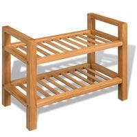 vidaXL Shoe Rack with 2 Shelves 49.5x27x40 cm Solid Oak Wood