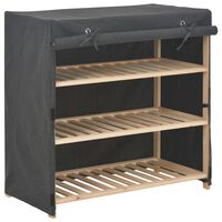 vidaXL Shoe Cabinet with Cover Grey 79x40x80 cm Fabric