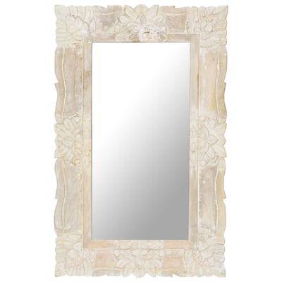 vidaXL Mirror White 80x50 cm Solid Mango Wood