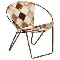 vidaXL Chair Diamond Brown Real Leather