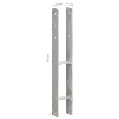 vidaXL Fence Anchors 2 pcs Silver 8x6x60 cm Galvanised Steel