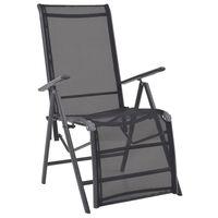 vidaXL Reclining Deck Chair Aluminium and Textilene Black