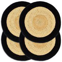 vidaXL Placemats 4 pcs Natural and Black 38 cm Jute and Cotton