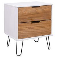 vidaXL Bedside Cabinet Light Wood and White 45x39.5x57 cm Pine Wood
