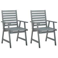 vidaXL Outdoor Dining Chairs 2 pcs Grey Solid Acacia Wood