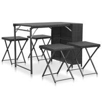 vidaXL 5 Piece Folding Outdoor Dining Set Poly Rattan Black