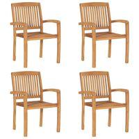 vidaXL Stacking Garden Chairs 4 pcs Solid Teak Wood