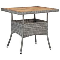 vidaXL Outdoor Dining Table Grey Poly Rattan and Solid Acacia Wood