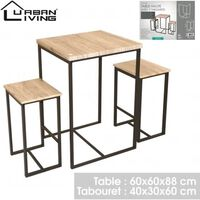 Urban Living - High Bar Table With 2 Barstools / Stools