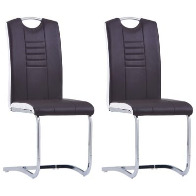 vidaXL Cantilever Dining Chairs 2 pcs Brown Faux Leather