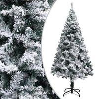 vidaXL Artificial Christmas Tree with Flocked Snow Green 150 cm PVC