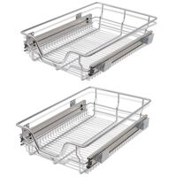 vidaXL Pull-Out Wire Baskets 2 pcs Silver 400 mm