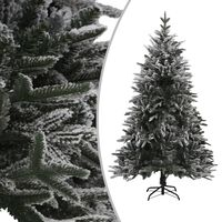 vidaXL Artificial Christmas Tree with Flocked Snow Green 240 cm PVC&PE