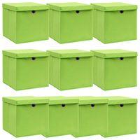 vidaXL Storage Boxes with Lids 10 pcs Green 32x32x32 cm Fabric